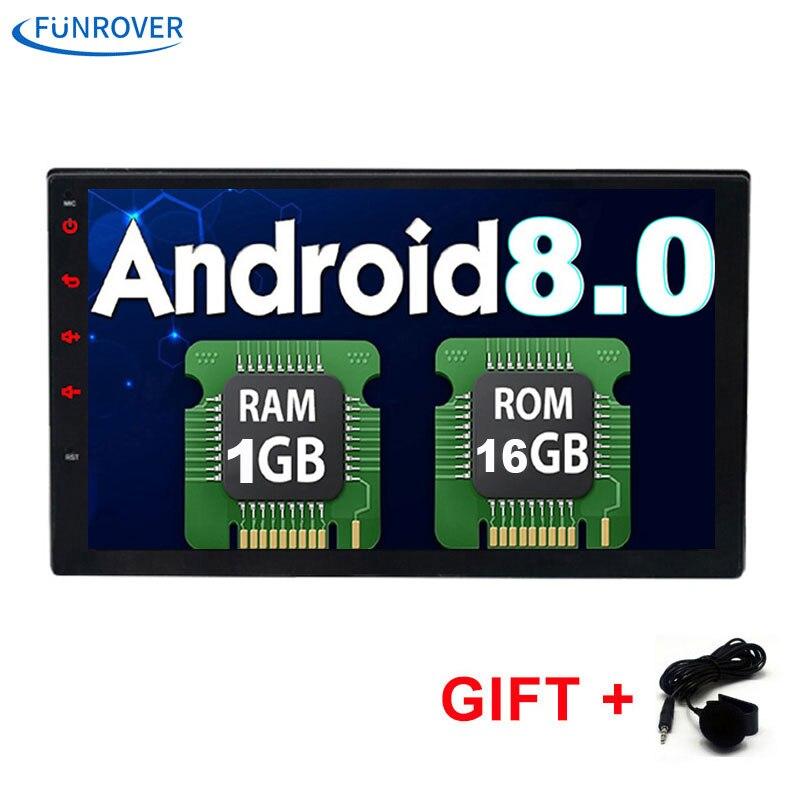 FUNROVER 2 Din 7 Polegada No traço Rádio Do Carro dvd Universal jogador android 8.0 bluetooth gps de navegação 1G + 16G de vídeo wi-fi bt rds