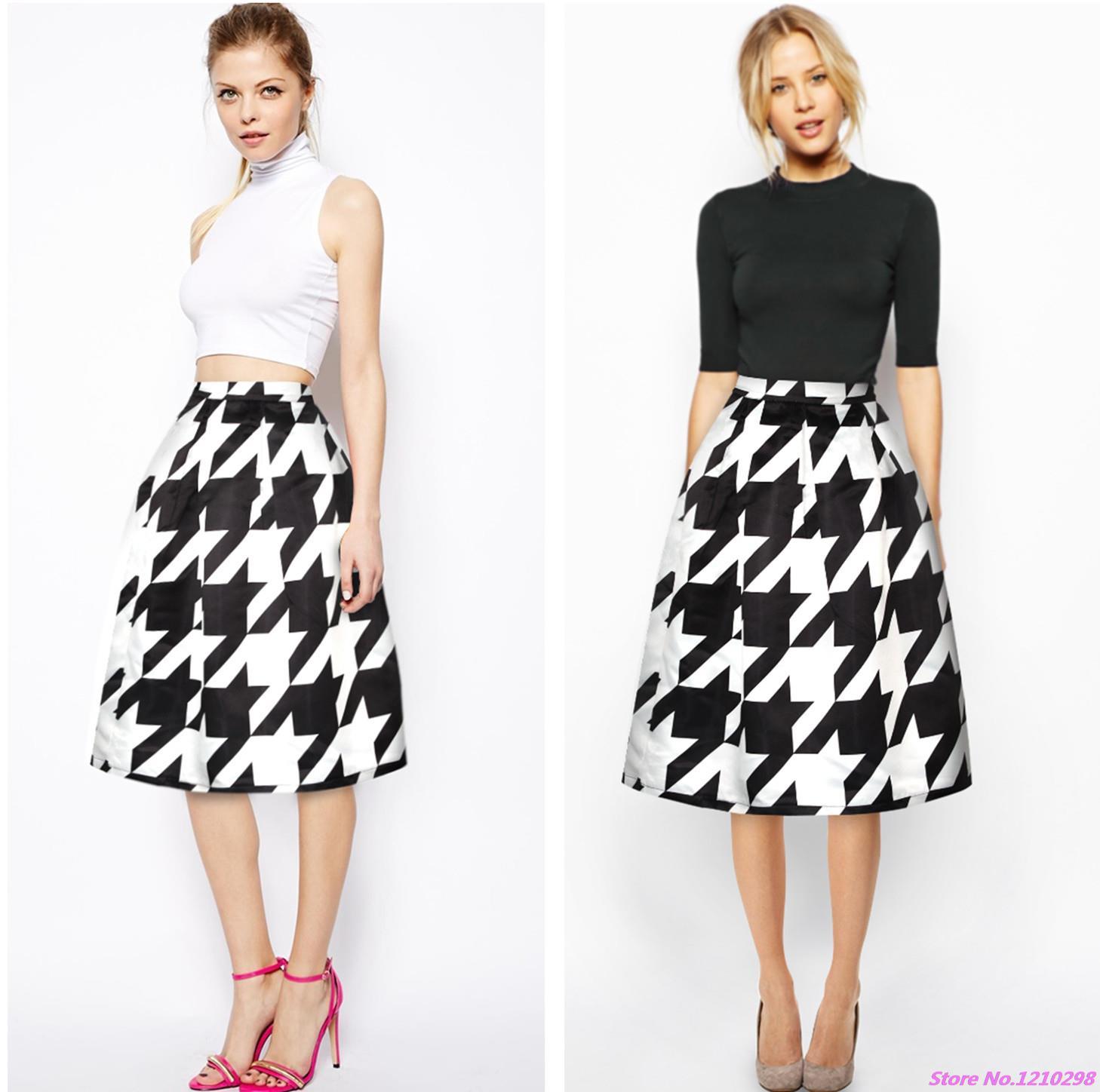 f0814c8cd8a5 Spring Plover Grid Women Skirt Black White Stripes Elastic High Waist Midi  Skirt 3D Digital Printing