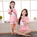 2017 новый мать и дочь пижамы pijamas пижамы детей hello kitty соответствия мать дочь одежда clothing набор костюм