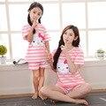 2017 nova mãe filha pijamas pijamas pijamas crianças olá kitty combinando mãe filha roupas clothing set treino