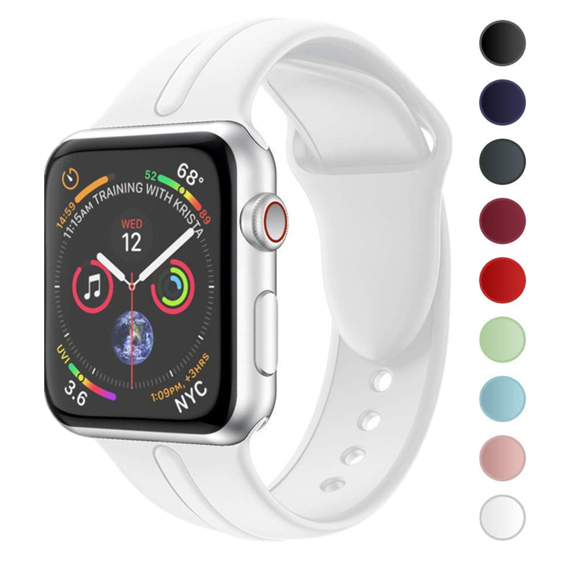 Sport Band for Apple Watch Series 4 44mm 40mm Belt Soft Silicone Sports Strap Replacement Wrist Bracelet for iWatch Watchbands цвета apple watch 4