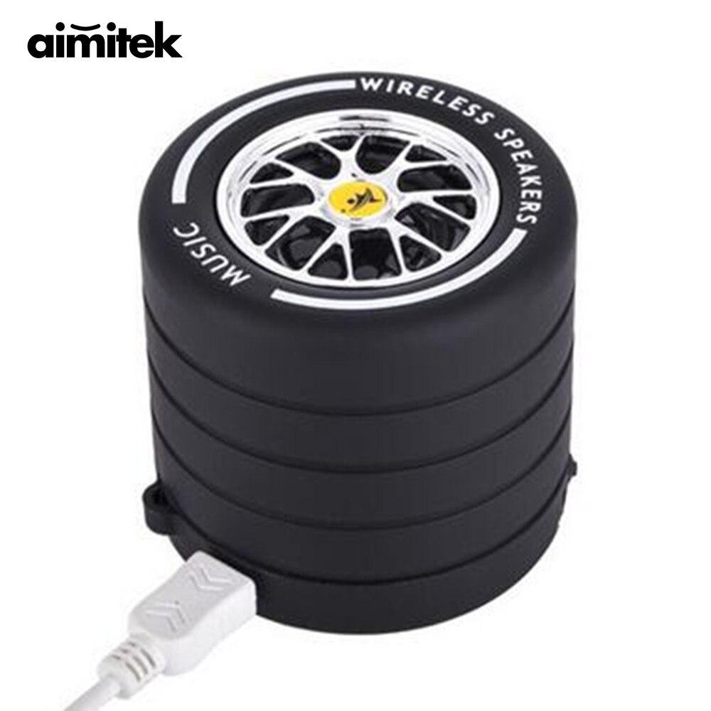 Aimitek Mini Portable Bleutooth Haut-Parleur De Roue De Voiture Musique Sans Fil Haut-parleurs Mains Libres avec Micro Soutien TF Carte pour Moblie Téléphone PC