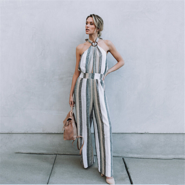 3f89ae715bc 2018 Women s Sleeveless Striped Jumpsuit Casual Loose Trousers Fashionable  Leotard Catsuit Combinaison Full Wide Leg Pants