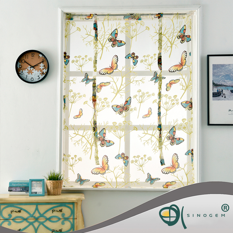 Sinogem Kitchen Short Sheer Curtains Burnout Roman Blinds