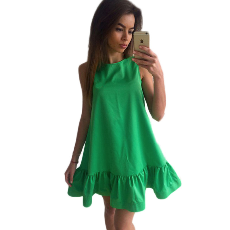 2017-summer-new-Casual-A-Line-O-neck-women-dress-solid-Cute-Off-the-Shoulder-ruffles (4)