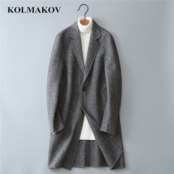 KOLMAKOV Men's Winter Clothes Wool Dress for Men Double-faced Coats 2018 Fashion Korean Style Long Windbreakers Slim Fit M-3XL