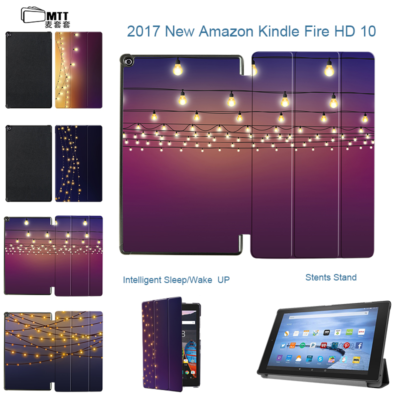 MTT Slim Magnetic Folio Stand PU Leather Halo lights Case Smart Cover For Amazon Kindle Fire HD 10 2017 10.1 inch tablet case high quality pu leather cover case folio protective shell cover case for amazon kindle 4 kindle 5 gift