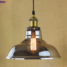 North American-Style Bronze 1 Light Vintage Pendant Lights Lamp In Transparent Shade Free Shipping