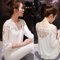 summer plus size feminine blouse women casual chiffon lace blouse version loose stitching lace blusa feminina shirt 2016 new