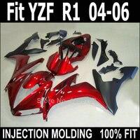 Новый набор обтекателей мотоцикла для Yamaha injection YZF R1 04 05 06 винно-красные черные Пластиковые обтекатели YZFR1 2004 2005 2006 LV55