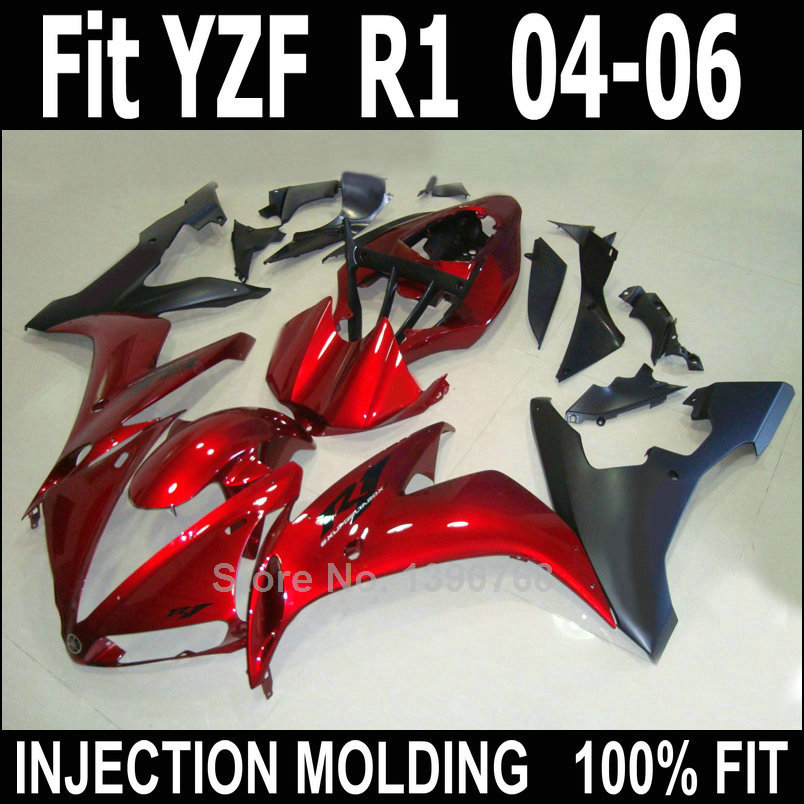 New motorcycle fairing kit for Yamaha injection YZF R1 04 05 06 wine red black plastic fairings set YZFR1 2004 2005 2006 LV55