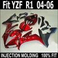 Nieuwe motorfiets kuip kit voor Yamaha injectie YZF R1 04 05 06 wijn rood zwart plastic stroomlijnkappen set YZFR1 2004 2005 2006 LV55