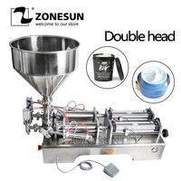 ZONESUN двойной головок машина автоматическая пневматический бункер крем Шампунь Увлажняющий Лосьон косметическое масло мед пищевой пасты
