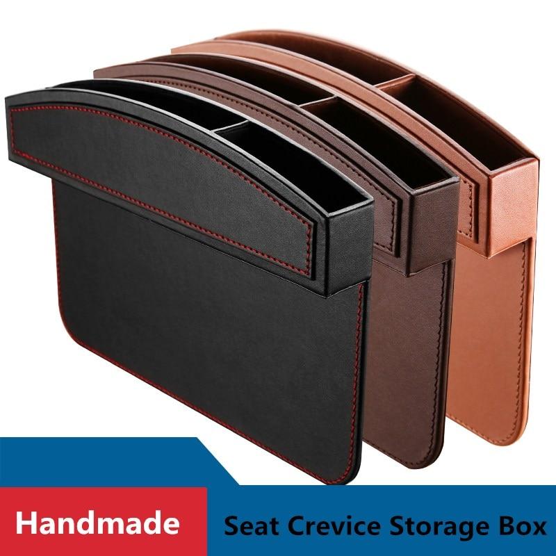 Cuoio Car Seat Gap Tasche Dimensione Universale Auto Sedili Fessura Scatola di Immagazzinaggio Del Telefono Mobile Organizzatori Console di Riempimento Tasca Laterale