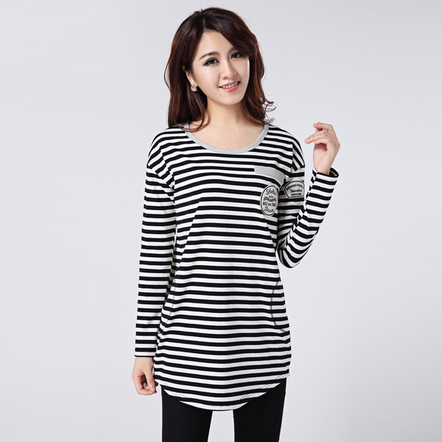 Large Size Women 200 Pounds Fertilizer Increase Spring T Shirt Black White Striped Shirt Bottoming T-shirt Camiseta Feminina