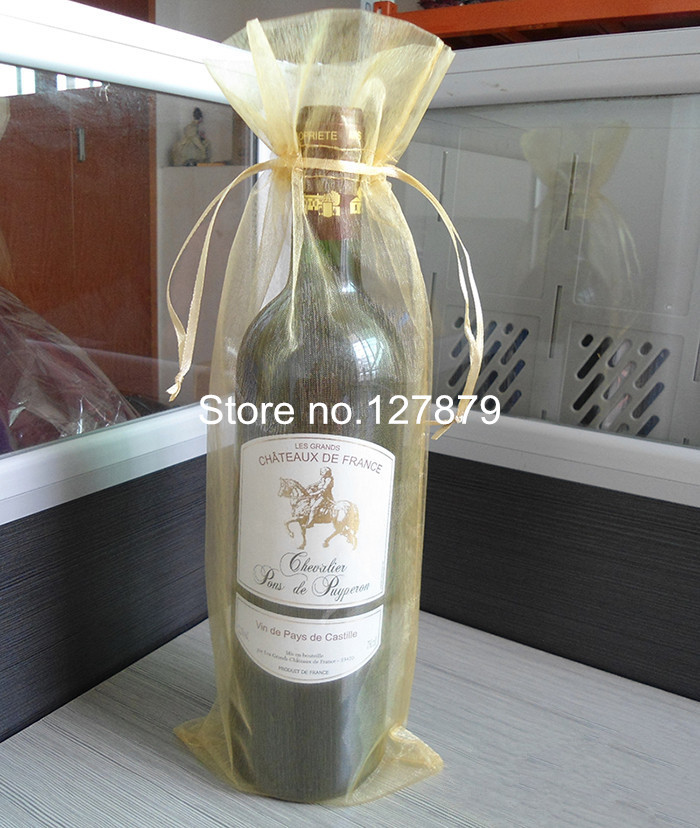 200pcs 15x37cm Gold Organza Wine Bottle Bags For Christmas Wedding Party Gift Packaging In Wring Supplies From Home Garden On