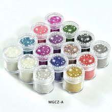 15Colors 15gram/Jar 0.6mm 0.8mm Glitter Beads Stereoscopic Caviar Manicure 3D Nail Decors Steel Ball Studs,MGCZ-A