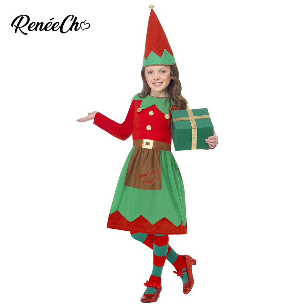christmas santa claus child girl dress Christmas Costume Girls Santa Little Helper Costume kids elf costume dress and hat set