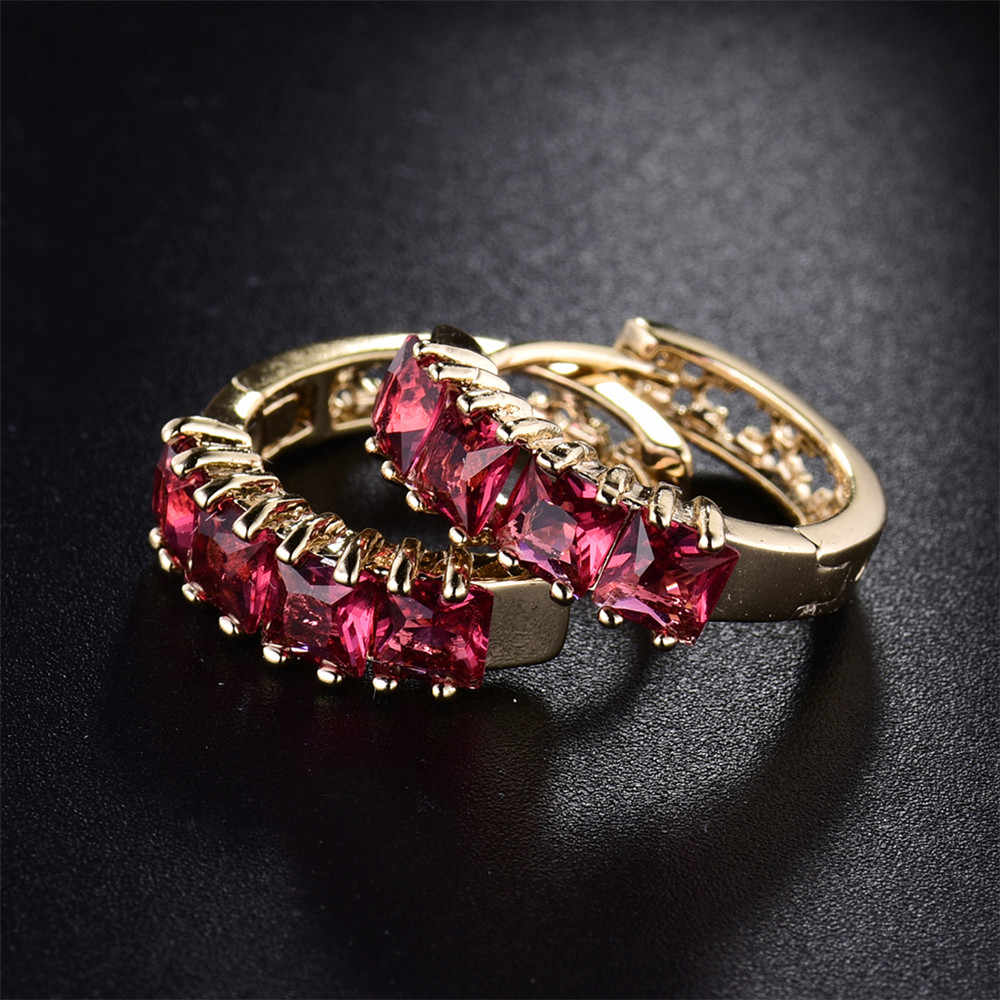 MOLIAM פופולרי סגנון אירופאי ואמריקאי עגילי חישוק גביש זהב-צבע יופי אטרקטיבי MLE305 חרישה לנשים