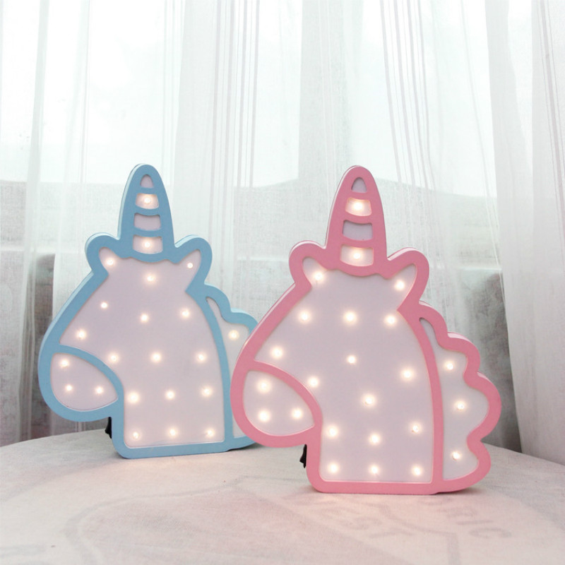 3D Woody Unicorn Telecontrol Night Light Animal Marquee LED Lamps On Wall For Children Bedroom Decoration Kids Gifts IY304123-21 delicore purple light unicorn head led night lights animal marquee lamps on wall for children party bedroom decor gifts s027 p