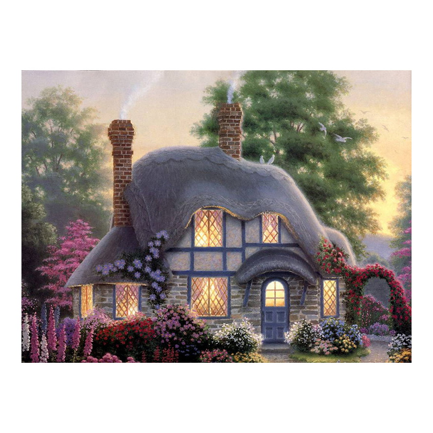 Hot Diamond Painting Cross Stitch Scenery,30*40cm Full Square Diamond,Diy,Diamond Embroidery Cottage,5D,Diamond Decor Gift-in Painting & Calligraphy from Home & Garden