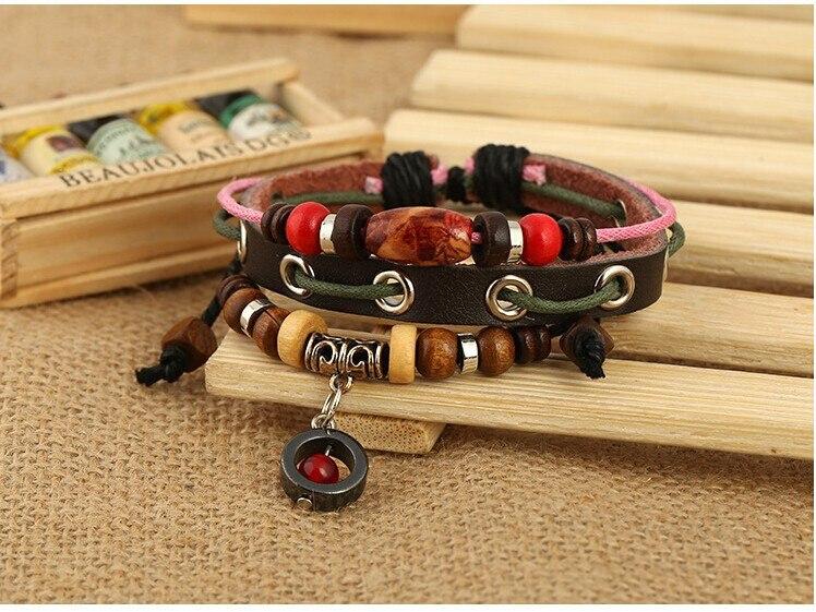 Adjustable Brown Genuine Leather Charm Bracelets For Women Men Round Pendant Wooden Beads Hemp Rope Bracelet Couple Jewelry Gift