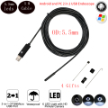 5m Cable 5.5 mm Lens Waterproof Endoscope Mini HD Camera Snake Tube Rigid Cable USB Inspection LED Borescopefor Android Phone PC