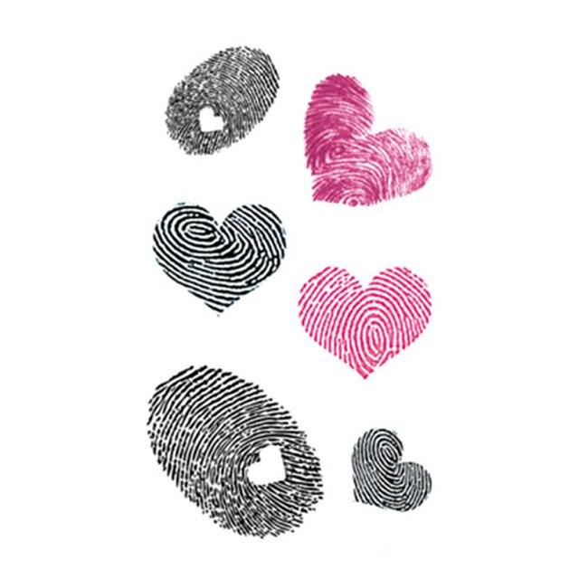 7dadd6feb Waterproof Temporary Fake Tattoo Stickers Pink Black Fingerprint Love Heart  Design Body Art Make Up Tools