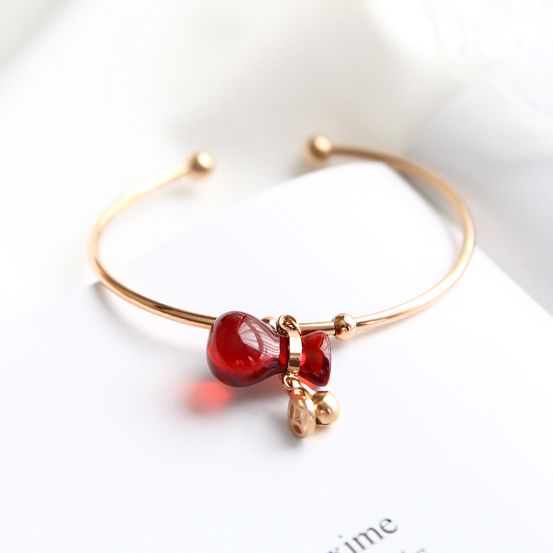 YUN RUO 2018 New Arrival Elegant Red Money Bag Bangle Lover Cuff Rose Gold Color 316 L Titanium Steel Jewelry for Woman Not Fade