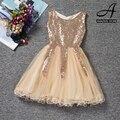Лето корейский стиль детей платье вуаль платье принцессы золотой блестками кружева бальное платье без рукавов новорожденных девочек младенческой дети платье