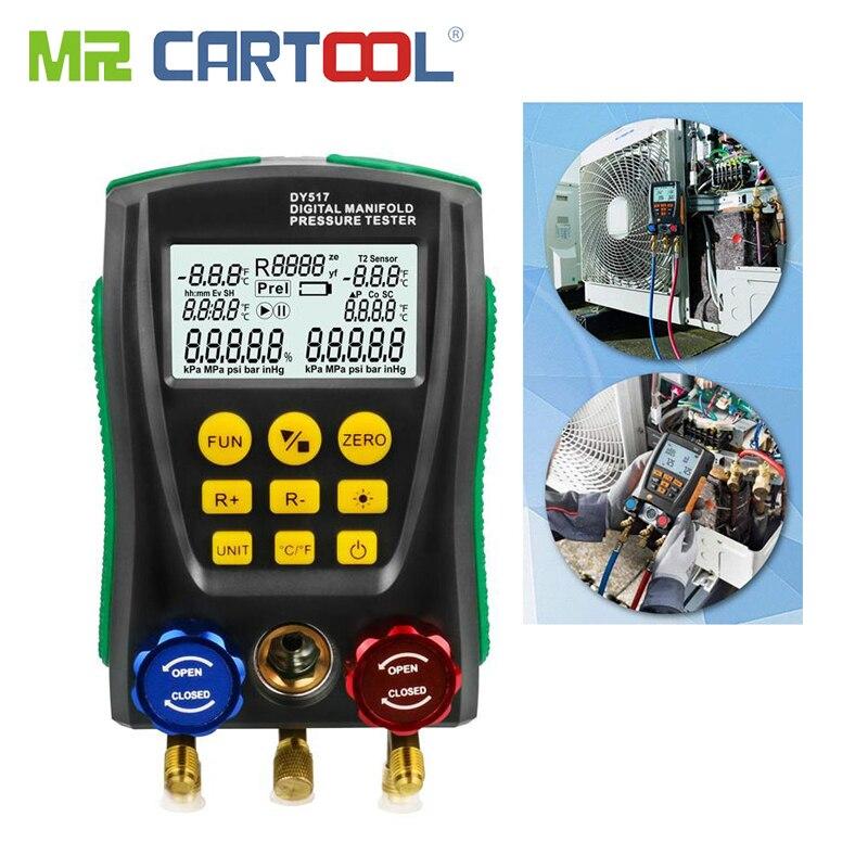 MR CARTOOL Refrigerantion Tools Digital Fluoride Table HVAC Manifold Gauge Meter Pressure Temperature Tester Leakage Refrigerant