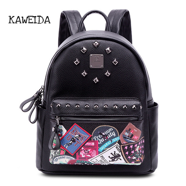 c5c6cfbd7b0a Cute Mini Genuine Leather Backpack Fashion Print small Day pack for Girls  Women Rivets Studded College School Bags for teenager