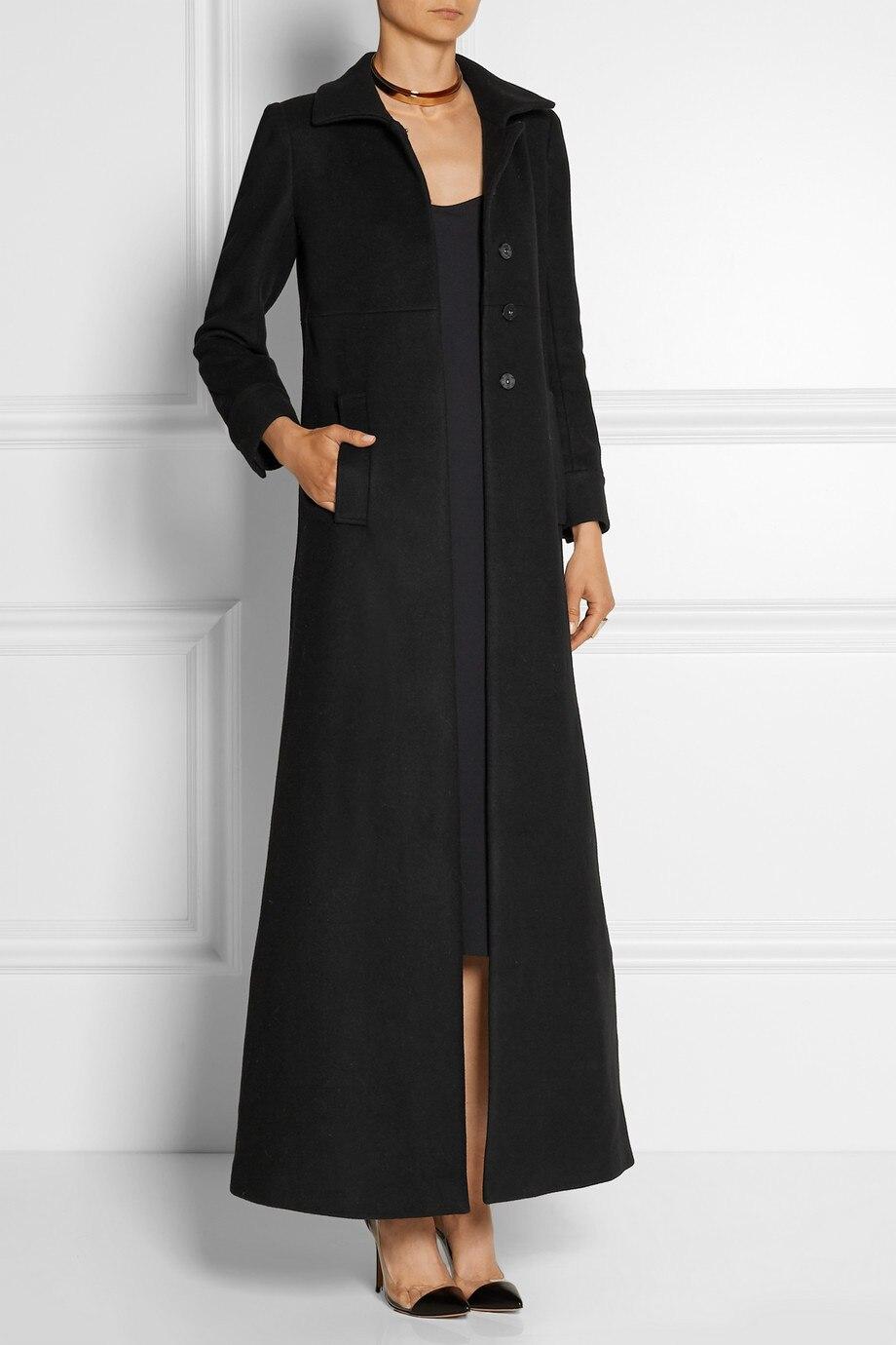 5f55b7a2dff74 Manteau Femme Mode Femmes Plus La Taille Automne Hiver Noir Simple Col  Rabattu Maxi Longue Manteau Femme Casual Pardessus casacos dans Laine et  Mélanges de ...