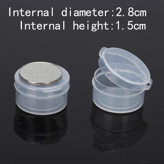 Free Shipping Transparent Plastic Small round coins Box With lid Packaging Storage boxes for ewelry & Small parts 100piece/lots