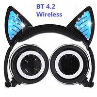 Drahtlose Bluetooth Katze Ohr Kopfhörer Faltbare Glowing Cosplay Gaming Headset Halloween Geschenk für Mädchen Kids Telefone