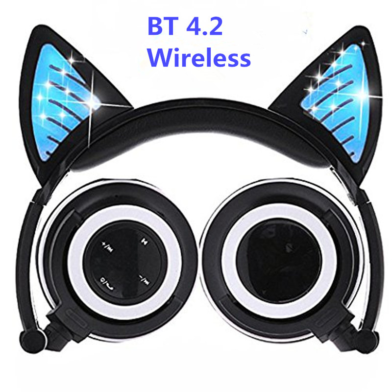 Wireless Bluetooth Cat Ear Headphones Foldable Glowing LED light Cosplay Gaming Headset Halloween Gift for Girls Kids Phones