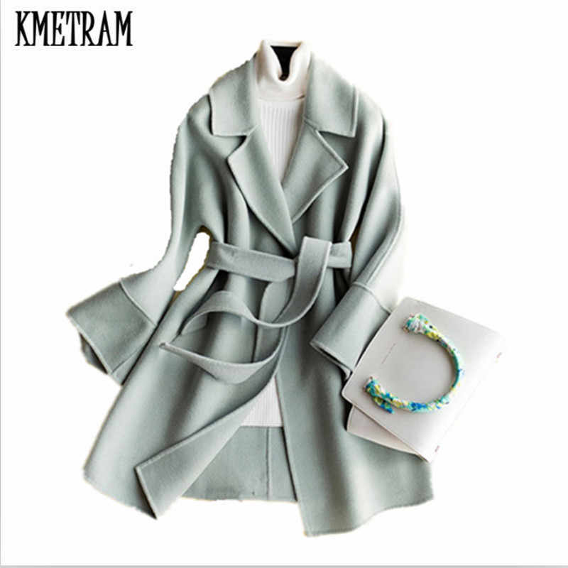 KMETRAM spring and autumn fashion women's 100% Wool cashmere coat  Double wool casaco Turn-Down collar Winter wool coat HH239