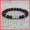 1pc New Design Yoga Jewelry Top Quality 8mm Black onyx Agate Stone Bead with Antique Skull Bracelets