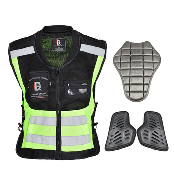 GHOST RACING Reflective Jacket Motorcycle Jacket Reflective Vest Motorcycle Vest Protector Motorbike Riding Biker Vest Moto
