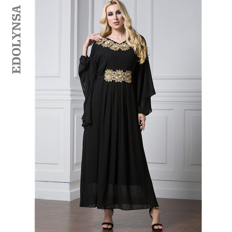 Empire Musulman Abaya Robe Patchwork Robe XL-7XL Plus Taille Dubaï Abaya Chauve-Souris Manches Kaftan Maxi Robes Femmes Vêtements # D387