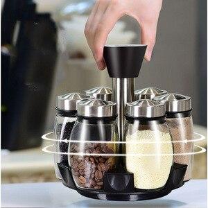 Image 1 - 1 Set Glas Spice Jar Rotierenden Gewürz Box Salz Zucker Pfeffer Shaker Gewürze Lagerung Flasche Halter Küche Gadget