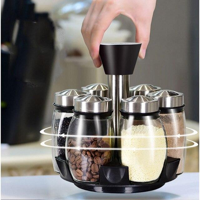 1 Set Glass Spice Jar Rotating Seasoning Box Salt Sugar Pepper Shaker Condiments Storage Bottle Holder Kitchen Gadget