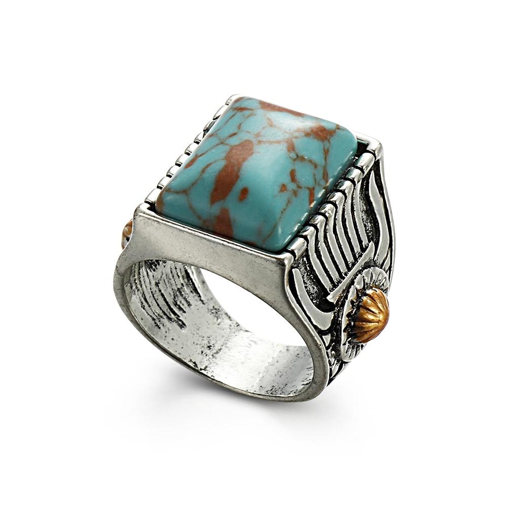 1 Pc Neue Bohemian Gypsy Stil Frauen Männer Navajo Indischen Handmade Quadratische Form Silber Ring Vintage Mode Schmuck Größe 6 -10