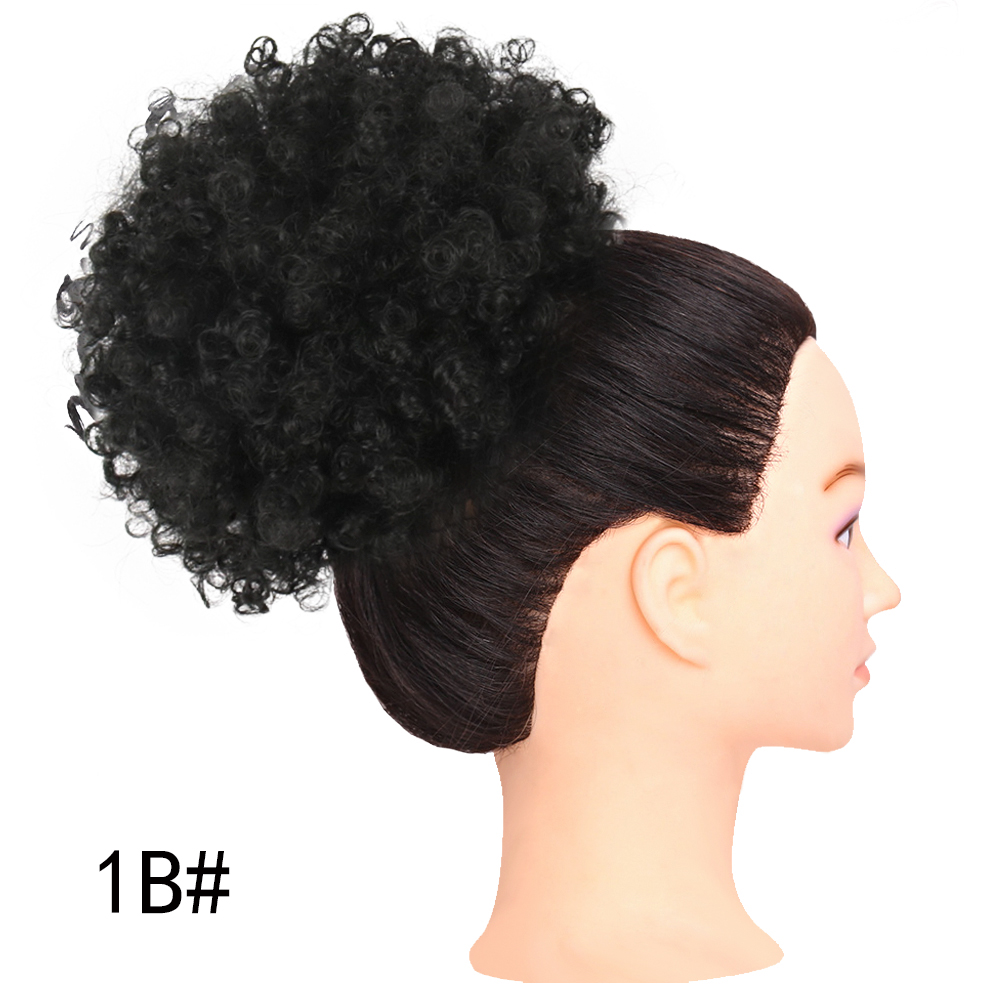 Deyngs Short Afro Kinky Curly Ponytail Drawstring High Puff Afro Curly Pony wig Clip in on Synthetic Curly Hair Bun Kanekalon