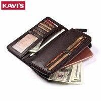 KAVIS Large Capacity Genuine Leather Long Wallet Men Coin Purse Male Clutch Walet Portomonee Rfid PORTFOLIO