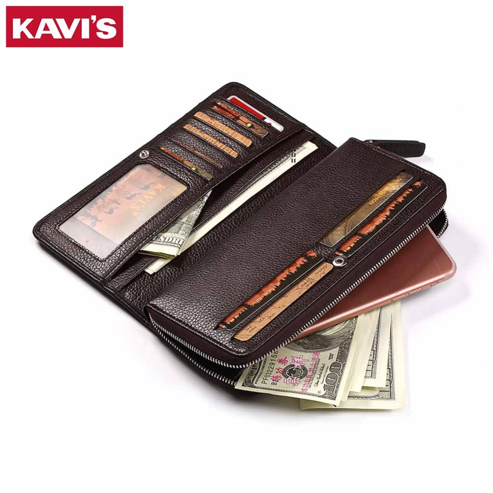 KAVIS Large capacity Genuine Leather Long Wallet Men Coin Purse Male Clutch Walet Portomonee Rfid PORTFOLIO  Handy and Perse genuine leather men business wallets coin purse phone clutch long organizer male wallet multifunction large capacity money bag