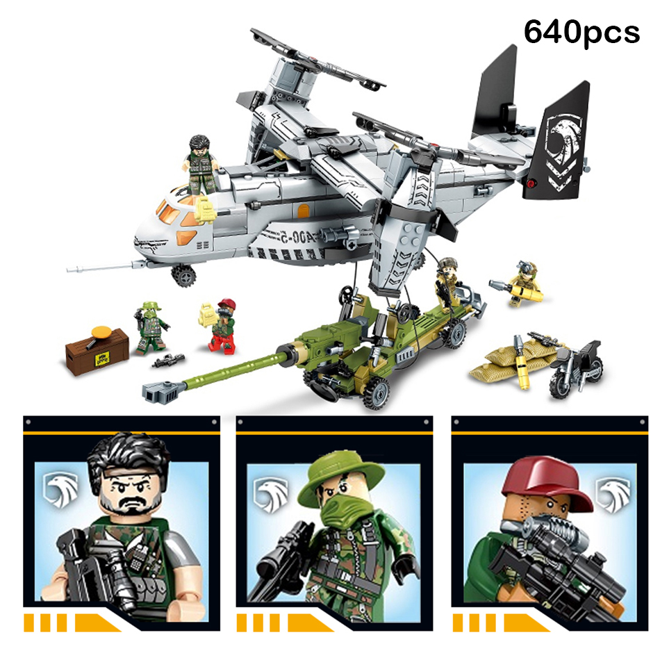640pcs City Military Swat Helicopter Truck Special Forces Figures Building Blocks Compatible Legoed Army Toys Gift For Children 6pcs swat team city police world war 2 military soldier army special forces building blocks brick figures toys boy gift children