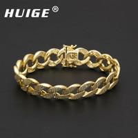 Hip Hop Micro Pave CZ Cuban Link Bracelet Copper Cubic Zircon Mens Punk Gold Silver Plated