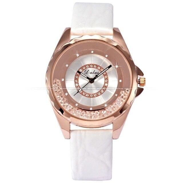 5a048a5d0c2 Luxo Rose aço inoxidável ouro cinto de couro caixa de átomos relógio  pulseira Relogio Feminino mulheres