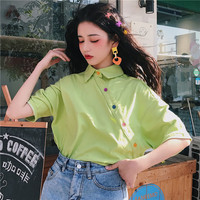 Harajuku свободная винтажная однотонная Универсальная футболка для девочек, 90 s, корейский стиль колледжа, короткий рукав, отложной воротник, Же...